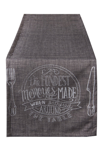 "L664R-Fond 16.5""x72"" Fondest Memories Printed Chalk White on Grey on this Rectangular Table Runner, both sides, for The Chalkboard Collection"