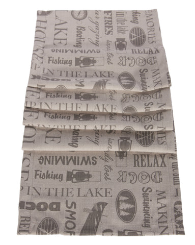 "L664R-MEM 13x72 "" Printed Lake House Memories Images on a Linen Blend Runner for The Lake House Collection"