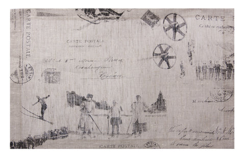 "L705-1803 Country Style City Chic Placemat 13""x17"" with Scenes D'antan Vintage Skiers on a beautiful Nuetral Linen Proudly Manufactured in Canada"