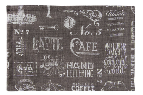 "L705-CHALK 13""x18"" Printed Chalk White on Grey on this Rectangular Placemat, for The Chalkboard Collection"