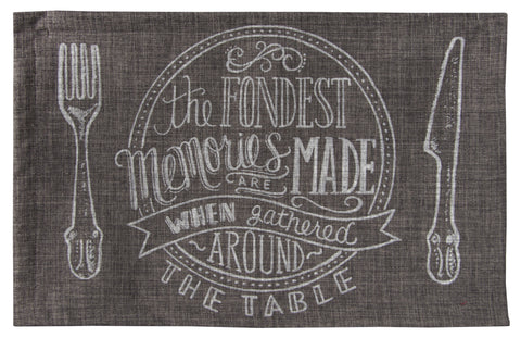 "L705-FOND 13""x18"" Fondest Memories Placemat Eco friendly Printed Chalk White on Grey, part of the Chalkboard Collection"