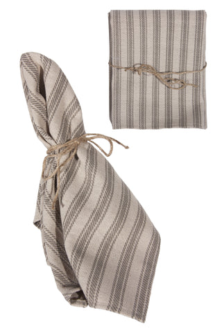 L709S-STRP Printed Ticking Stripe set of 4 Napkins Linen Blend tied with Twine for The Lake House Collection