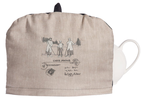 L724-1803 Country Style City Chic Tea Cozy with Removable with Scenes D'antan Vintage Skiers on a beautiful Nuetral Linen Proudly Manufactured in Canada