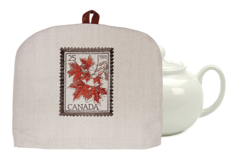 "L724-LEAF 10""x13"" Vintage Leaf Post embroidered on this Tea Cozy with Removable Liner, part of The Vintage Canadiana Collection"