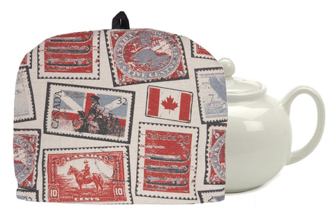 "L724-STMP 10""x13"" Vintage Stamp Images printed on this Tea Cozy with Removable Liner, part of The Vintage Canadiana Collection"