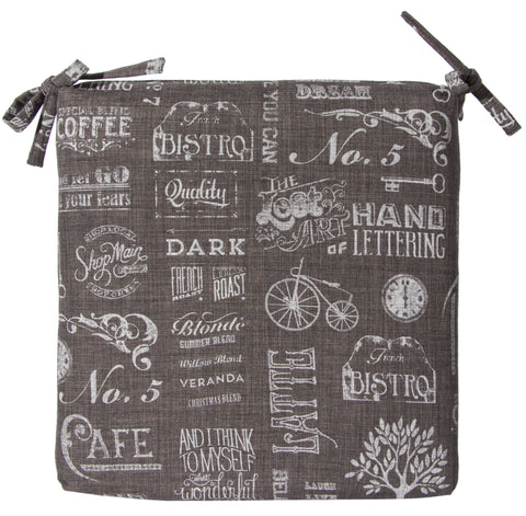 "L744-CHALK 18""x18"" Chalkboard Seat Cushion Rigid Foam and Fibre Eco Printed and designed in Canada, Chalk Style with on trend Images and Fonts printed on Grey Fabric part of The Chalkboard Collection"