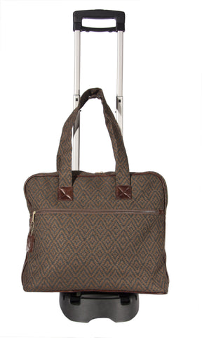 "L759-3038 Trolley Tote Rioja Stone w Trolley Cart trimmed w Authentic Leather. Spacious Interior Tote Double Straps and Removable Trolley Cart. Part of the Unbridled Passion, Cosmetic and Travel Collection 10""x18""x16"""