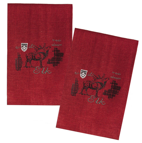 "L771-ELK Country Style City Chic Guest Towels with Elk Motif 16""x24"" Set of 2 on Linen Fabric"