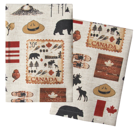 "L771-NORTH 16""x24"" We The North Guest towels Set or 2 designed by Elizabeth Law with Eco Friendly Printing, part of The Vintage Canadiana Collection"