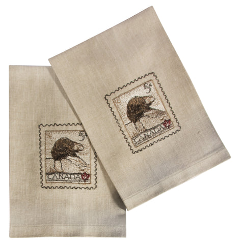 "L771-BEAVR 16""x24"" Vintage Beaver Stamp Guest towels Set or 2 embroidered, designed by Elizabeth Law, part of The Vintage Canadiana Collection"
