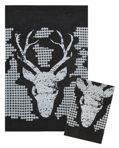 "L771-BUCK 16""x24"" Buck Chalkboard Set of 2 Linen Guest Towels Eco Printed and designed in Canada, Chalk Style with on trend Buck Image with Houndstooth part of The Chalkboard Collection"