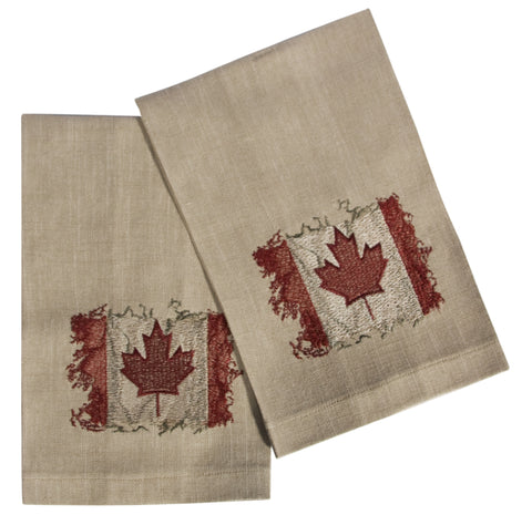 "L771-CANAD 16""x24"" Vintage Canada Flag Guest towels Set or 2 embroidered, designed by Elizabeth Law, part of The Vintage Canadiana Collection"
