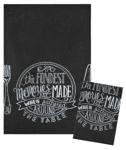"L771-FOND 16""x24"" Fondest Memories Chalkboard Set of 2 Linen Guest Towels Eco Printed and designed in Canada, Chalk Style with on trend part of The Chalkboard Collection"