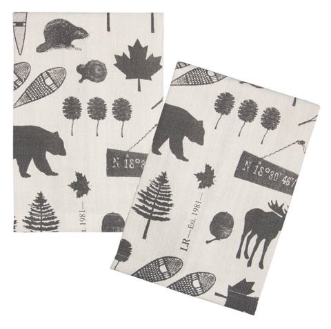 "L771-ICON 16""x24"" We The North Guest towels Set or 2 designed by Elizabeth Law with Eco Friendly Printing, part of The Vintage Canadiana Collection"