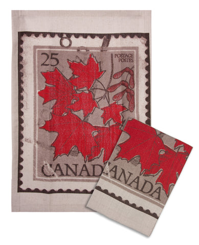 "L771-LEAF 16""x24"" Vintage Leaf Stamp Guest towels Set of 2 designed by Elizabeth Law with Eco Friendly Printing, part of The Vintage Canadiana Collection"