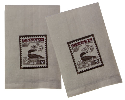 "L771-LOON 16""x24"" Vintage Loon Stamp Guest towels Set or 2 embroidered, designed by Elizabeth Law, part of The Vintage Canadiana Collection"