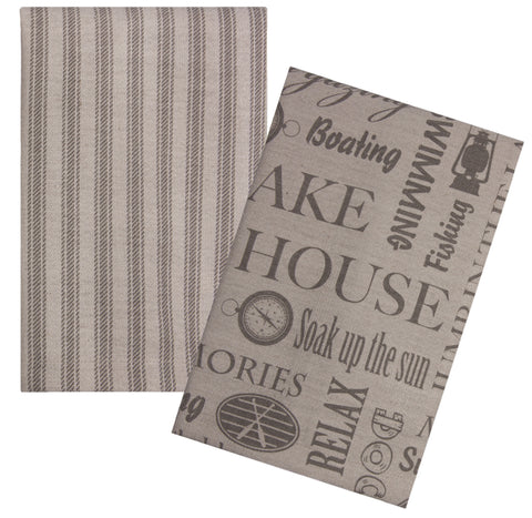 "L771-MEM 16x24"" each Set of 2 Guest Towels with printed Memories on one and Ticking Stripe on the other on a Linen Blend The Lake House Collection"