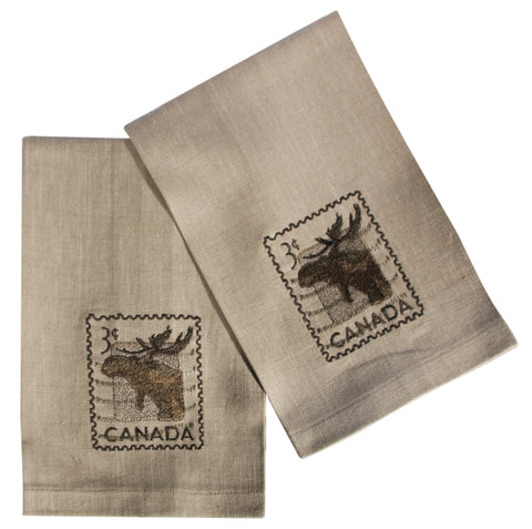 "L771-MOOSE 16""x24"" Vintage Moose Stamp Guest towels Set or 2 embroidered, designed by Elizabeth Law, part of The Vintage Canadiana Collection"