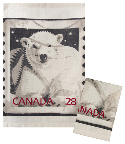 "L771-Polar 16""x24"" each Set of 2 Linen Blend Polar Bear Stamp Guest Towels part of The Lady Rosedale Vintage Canadiana Collection"