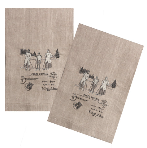 "Country Style City Chic Guest Towels 16""x24"" Set of 2 with Scenes D'antan Vintage Skiers embroidered on a beautiful Nuetral Linen Proudly Manufactured in Canada"