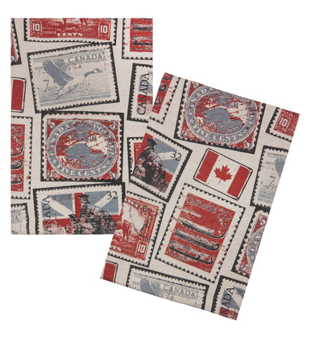 "L771-STMP 16""x24"" Vintage Stamps Guest towels Set or 2 designed by Elizabeth Law with Eco Friendly Printing, part of The Vintage Canadiana Collection"