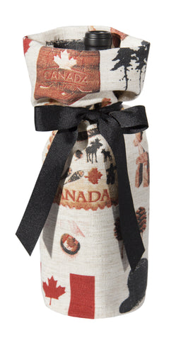 "L772-NORTH 7""x13"" Vintage Iconic Images printed on this Wine Bottle Bag part of The Vintage Canadiana Collection"