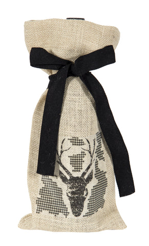 "L772-BUCK 7""x13"" Buck Image w Houndstooth Chalkboard Wine Bottle Bag, Heat Transfer Printed and designed in Canada, Chalk Style with on trend designs, part of The Chalkboard Collection comes with a Cotton Twill Tape Ribbon"