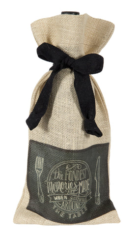 "L772-FOND-B 7""x13"" Fondest Memories Chalkboard Wine Bottle Bag, Heat Transfer Printed and designed in Canada, Chalk Style with on trend design, part of The Chalkboard Collection comes with a Cotton Twill Tape Ribbon"