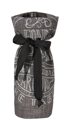 "L772-FOND 7""x13"" Fondest Memories Chalkboard Wine Bottle Bag, Eco Printed and designed in Canada, Chalk Style with on trend design, part of The Chalkboard Collection comes with a Cotton Twill Tape Ribbon"