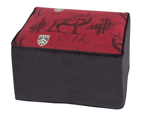 "L900-1801 Country Style City Chic Rectangular Ottoman with Elk Motif 25""x18""x16"" Trendy Deep Red with Elk and Emblem Woven Designs Proudly Manufactured in Canada"