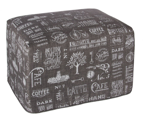 "L900-CHALK 16""x25""x18"" Chalkboard Ottoman Rigid Foam and Fibre Eco Printed and designed in Canada, Chalk Style with on trend Images and Fonts printed on Grey Fabric part of The Chalkboard Collection"