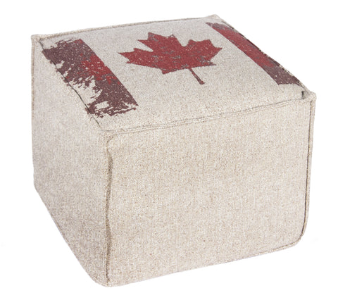 "L900F-CANAD 16x16x12"" Canada Flag Image Printed on a Textured Fabric on this Footy Ottoman, The Original Printed Design Cover, zips off for laundering and the base is a waterproof scratch resistant Denier Material, part of The Vintage Canadiana Collection"