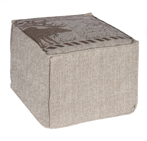 "L900F-POST 16x16x12"" Postcard Image Printed on a Textured Fabric on this Footy Ottoman, The Original Printed Design Cover, zips off for laundering and the base is a waterproof scratch resistant Denier Material, part of The Vintage Canadiana Collection"
