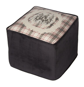 "Country Style City Chic Giddy Up Sophisticated Riders with a Flat Piped Edge on a 16""x16""x16"" Square Ottoman with Rigid Foam Insert with Zipper for easy removal for Laundering ... Proudly Manufactured in Canada"