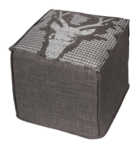 "L900N-BUCK 18""x16""x16"" Buck Chalkboard Ottoman Rigid Foam and Fibre Eco Printed and designed in Canada, Chalk Style with on trend Buck Image with Houndstooth printed on Grey Fabric part of The Chalkboard Collection"
