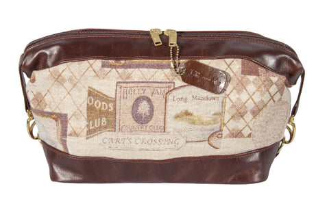 "L935-GOLF Large Travel Kit Vintage Golf Images Eco printed on a Linen Poly Blend, Authentic Brown Leather Base,Trim and Handle, double Zipper. Part of The On the Tee Vintage Golf Collection and Cosmetic and Travel Collection 12""x7""x6""."
