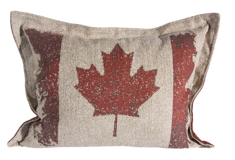 "L960-CANAD 16""x22"" Pillow with Zippered Feather Insert the Vintage Canada Flag printed image with a Flanged edge part of the Lady Rosedale Vintage Canadiana Collection"