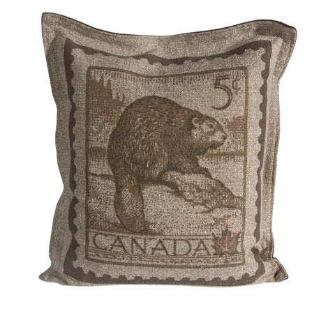 "L961-BEAVR 20""x22"" Pillow with Zippered Feather Insert the Beaver Stamp printed Image with a Flanged edge part of the Lady Rosedale Vintage Canadiana Collection"