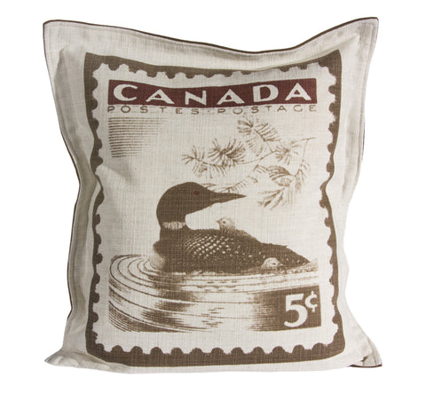 "L961-LOON 20""x22"" Pillow with Zippered Feather Insert the Loon Stamp printed Image with a Flanged edge part of the Lady Rosedale Vintage Canadiana Collection"