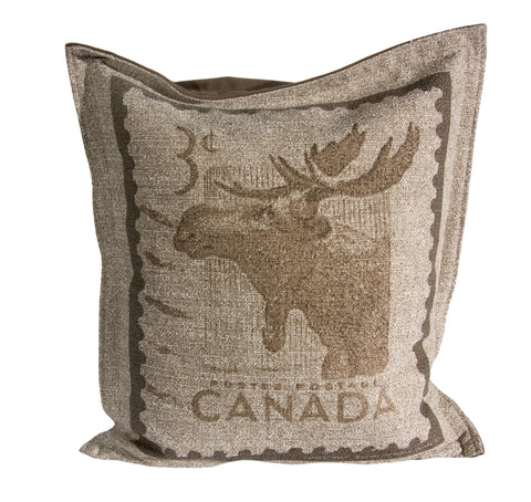 "L961-MOOSE 20""x22"" Pillow with Zippered Feather Insert the Moose Stamp printed Image with a Flanged edge part of the Lady Rosedale Vintage Canadiana Collection"