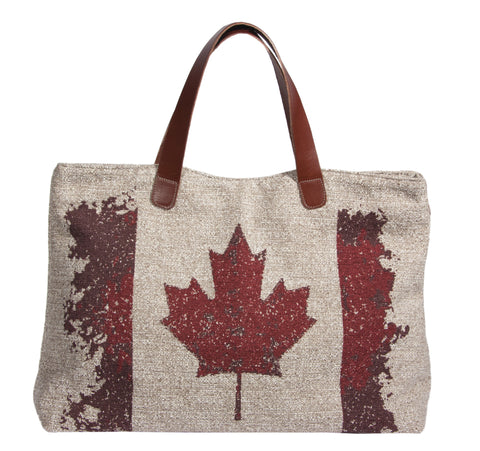 "This L994-Canad Traveller Tote 23""x13""x6"" with Bridle Leather straps, Designed and Printed on a Textured Fabric with the Vintage Canada Flag on one side, part of the Lady Rosedale Vintage Canadiana Collection"