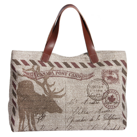 "This L994-POST Traveller Tote 23""x13""x6"" with Bridle Leather straps, Designed and Printed on a Textured Fabric with the Vintage Canada Flag on one side, part of the Lady Rosedale Vintage Canadiana Collection"
