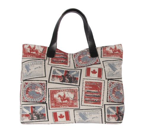 "L994-STMP Traveller Tote 18""x14""x5.5"" with Bridle Leather straps,  Designed and Printed on a Textured Fabric with Vintage Canadian Stamps, part of the Lady Rosedale Vintage Canadiana Collection"