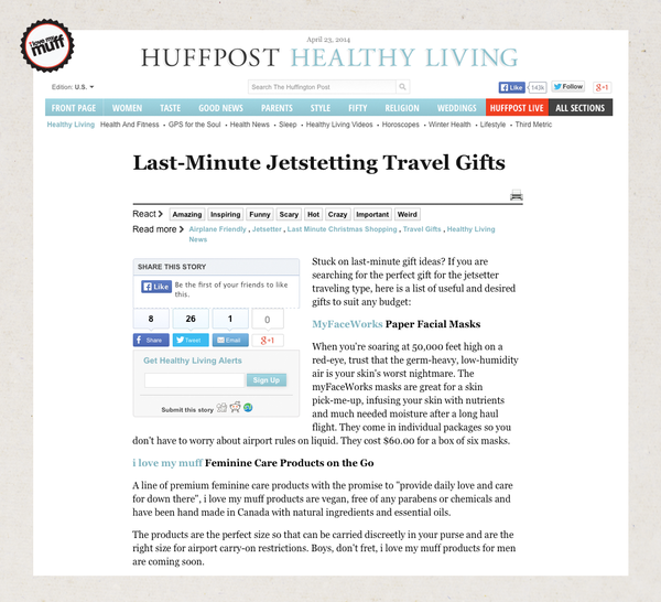 I Love My Muff Makes Huffpost Top Travel Gifts
