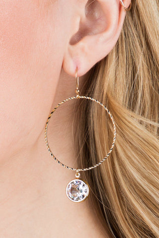 Amanda Textured Metal Earring with Shimmering Crystal Charm