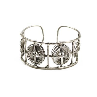 Silver Tone Handcrafted Cuff Bracelet