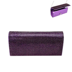 Rhinestone Covered Fabric Evening Clutch Purse With Chain Strap