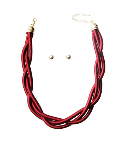 Twisted Cord Necklace Set - Red