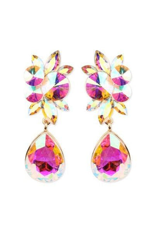 Wide Floral Teardrop Gemstone Clip Earrings