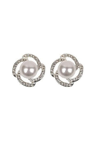 Crystal Studded Pearl Post Earrings